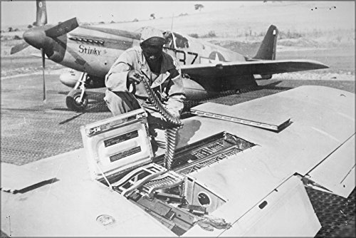 16x24 Poster; 15Th U.S. Air Force Checks Ammunition Belts Of The .50 Caliber Machine Guns In The Wings Of A P-51 Mustang 1944