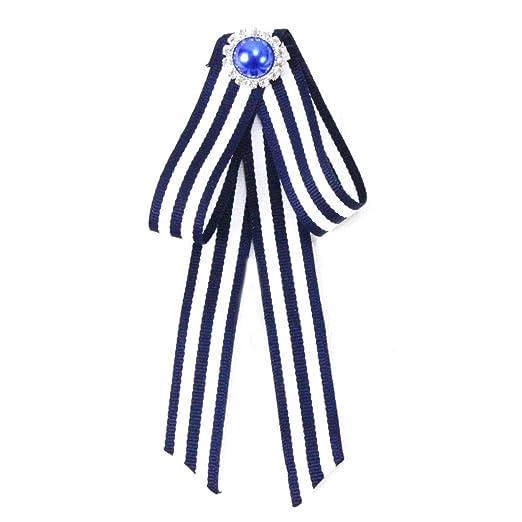 Exing Nudo Mariposa clásica de Rayas Azul Marino Broche Broche ...