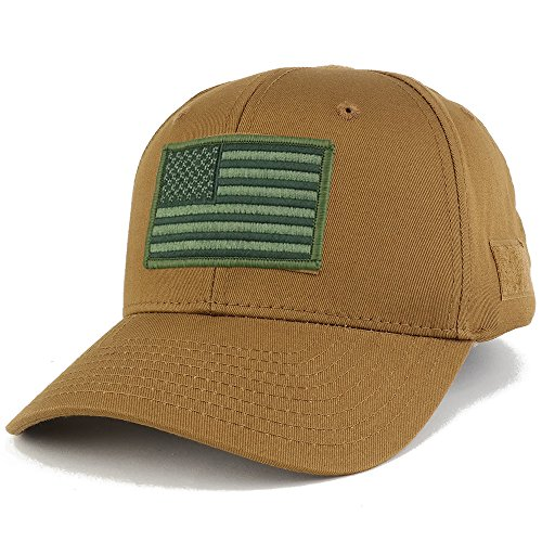 9b86f40a4523e3 ... Armycrew USA Flag Olive 2 Embroidered Tactical Patch Adjustable  Structured Operator Cap - Coyote