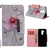 for LG G7 ThinQ Wallet Case with Card Holder,LG G7 Leather Phone Cases and Screen Protector,QFUN Elegant Pattern Design [Pink Lotus] Magnetic Closure Stand Function Shockproof Anti-Scratch Drop Protection Etui Shell Bumper Protective Flip Cover with Lanyard