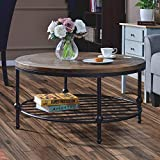 Wood Coffee Table with Storage Harper&Bright Designs Easy Assembly Hillside Rustic Natural Coffee Table with Storage Shelf for Living Room (Round)