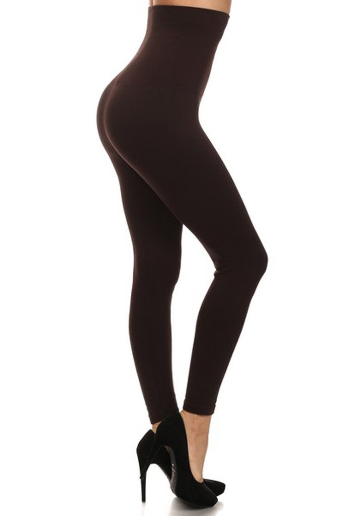 a282471daa Details about Women's Empire Waist Tummy Compression Control Top Leggings  French Terry Lining.