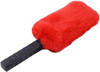 Amosfun Cuir fouet fouet slapper pour fessée Flirting Paddle Fetish Flogger Fouet Cosplay pour Amoureux des Couples (Rouge)