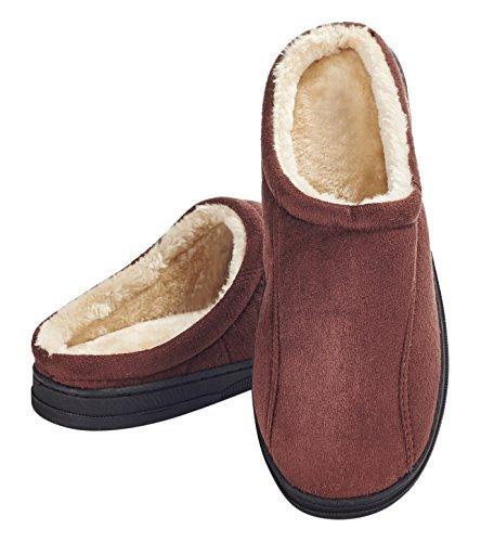 Caldo Scaldamuscoli Da Uomo Su Pantofole In Microsuede Antiscivolo Memory Foam Scarpe Outdoor Da Interni Marrone