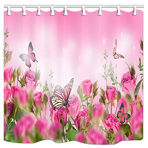 KOTOM Floral Decor Shower Curtain, Pink Roses with Butterflies Garden Flowers, Polyester Fabric Bath Curtains with Hooks 69W X 70L Inches