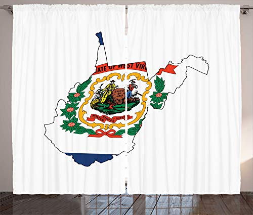 Lunarable West Virginia Curtains, Mountain State Map with Flag Farming and Mining Mountaineers are Always Free, Living Room Bedroom Window Drapes 2 Panel Set, 108 W X 96 L Inches, Multicolor