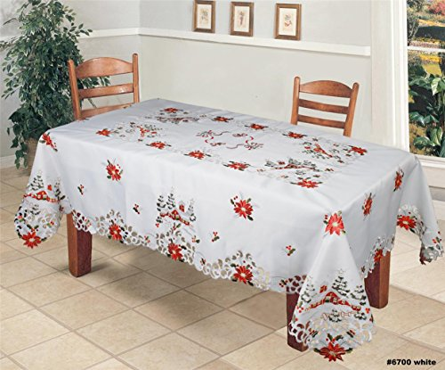 (Creative Linens Holiday Christmas Tablecloth 70x104 with 12 Napkins Embroidered Red Poinsettia Christmas Tree Snowy Cabin Table Linen Rectangular)