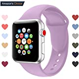 Youther for Apple Watch Bands, Soft Silicone Strap Replacement Wristbands for Apple Watch Sport Series 3 Series 2 Series 1 Light Purple 38mm S/M