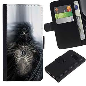 LECELL--Cuero de la tarjeta la carpeta del tirón Smartphone Slots Protección Holder For Samsung Galaxy S6 -- Gothic Skull Skeleton Diablo Demonio --