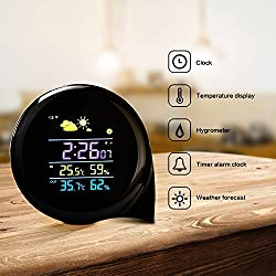 Weather Station, Digital Alarm Clock, Wireless Weather Station with LCD Screen, Weather Monitor Table Clock Indoor/Outdoor with Temperature/Humidity Forecast (weather station 312)