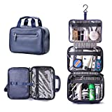 Beschan Extra Large PU Leather Hanging Travel Toiletry Bag Transparent Organizer Dopp Kit for Men for Woman (Navy Blue)