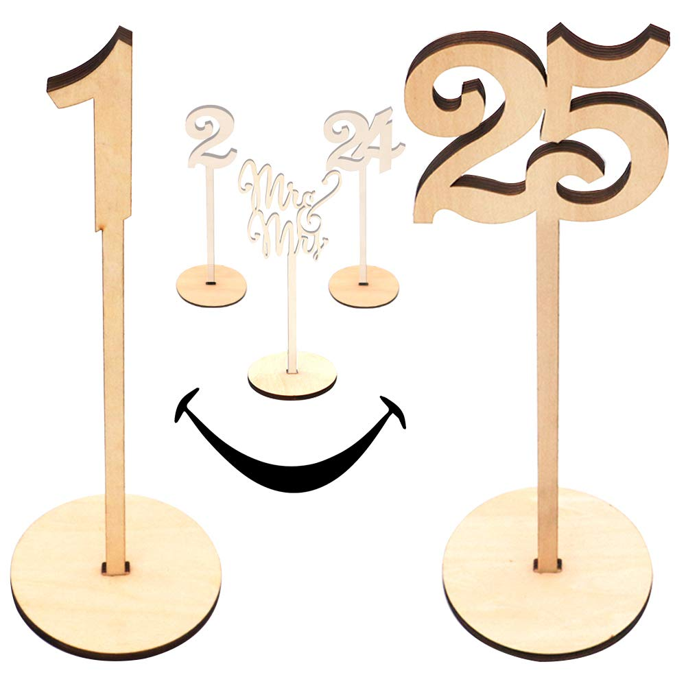 Wooden Wedding Table Numbers 1-25 Pack | Extra Large Commercial Grade Thick Heavy Duty | Natural Wood with Centerpiece Cake Topper | Perfect for Receptions, Banquet, Catering, Cafés, Restaurant