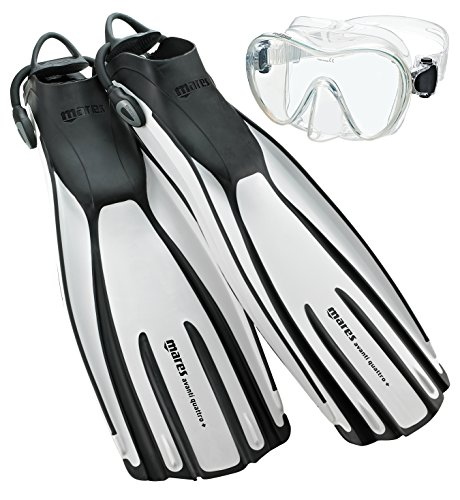 Mares Avanti Quattro Plus Adjustable Strap Fins with Mask, White, X-Large (11-13)