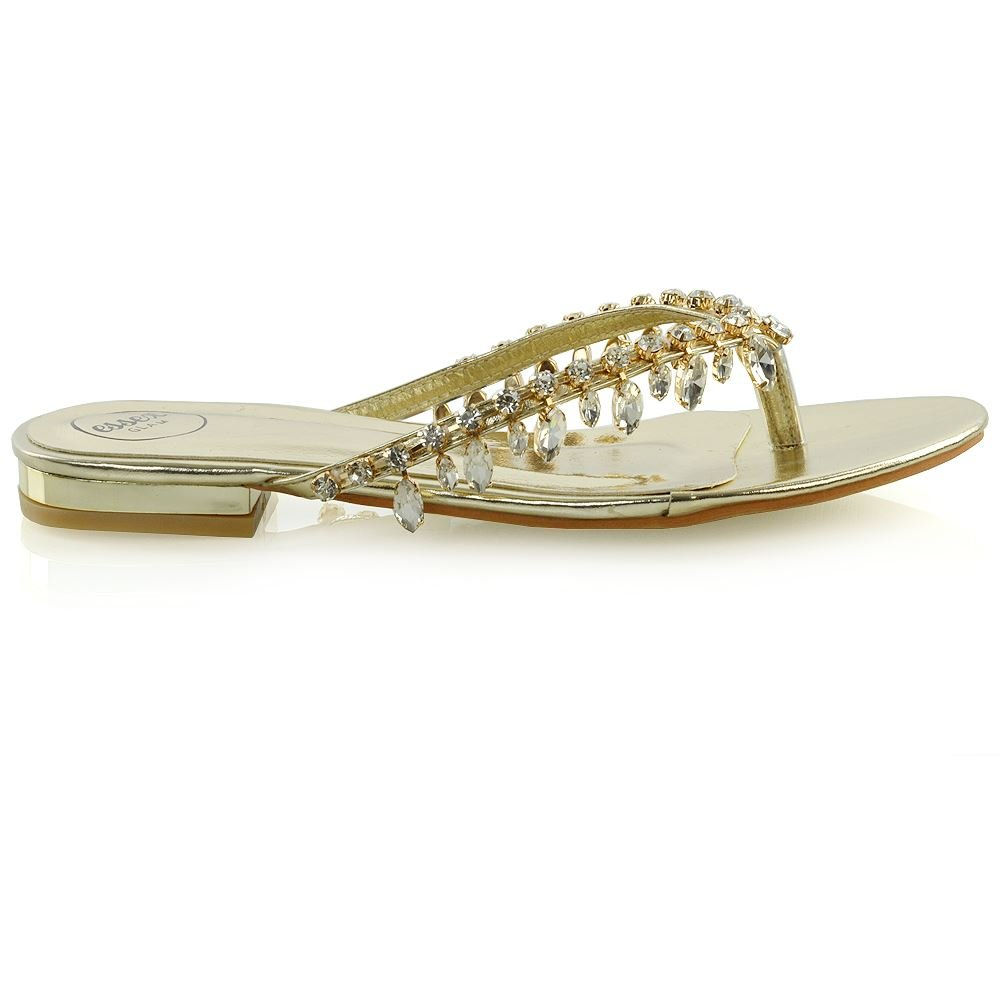 4e6cbf7302b7 ESSEX GLAM Womens Flip Flop Diamante Sandals Ladies Sparkly Toe Post  Holiday Beach Slider  Amazon.co.uk  Shoes   Bags