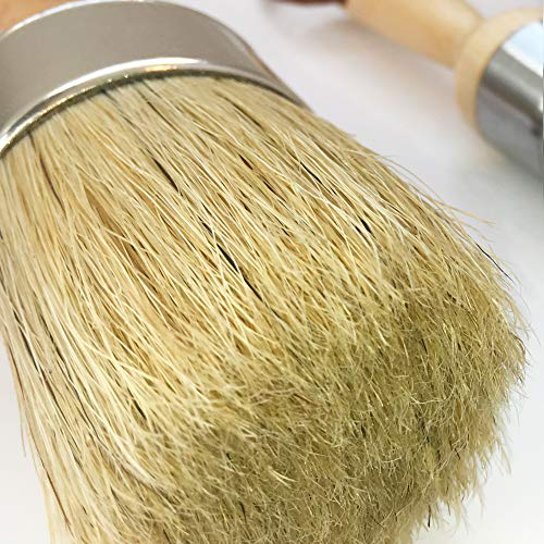 Vintage Tonality All-in-1 Large Chalk Wax Paint Brush Set Wide 2-inch Round Natural Boar Hair Bristles • Furniture Painting Kit, Stencils, Ideal for Heavier Chalked, Milk, Mineral Based Paints