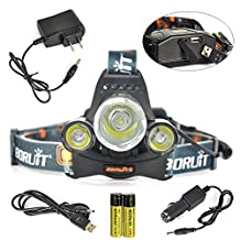 Boruit 3 LED 5000 Lumens Headlamp Flashlight 4 Modes LED for Running, Sprinter, Hiking, Reading, Bike, Suit Hunting & Fishing Lighting with USB Output Function+Wall Charger+Car Charger+2*18650 Rechargeable Battery+USB Charging Cable