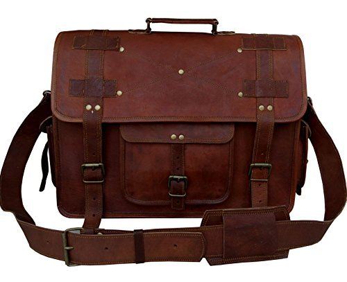 VINTAGE COUTURE 18 Inch leather messenger bags for men women