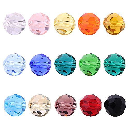 BEADNOVA 6mm Briolette Faceted Rondelle Crystal Glass Beads For Jewelry Making DIY Craft Beads Bracelet Wholesale Mix lot ()