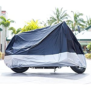 XYZCTEM All Season Black Waterproof Sun Motorcycle Cover,Fits up to 108″ Motors (XX Large & Lockholes)