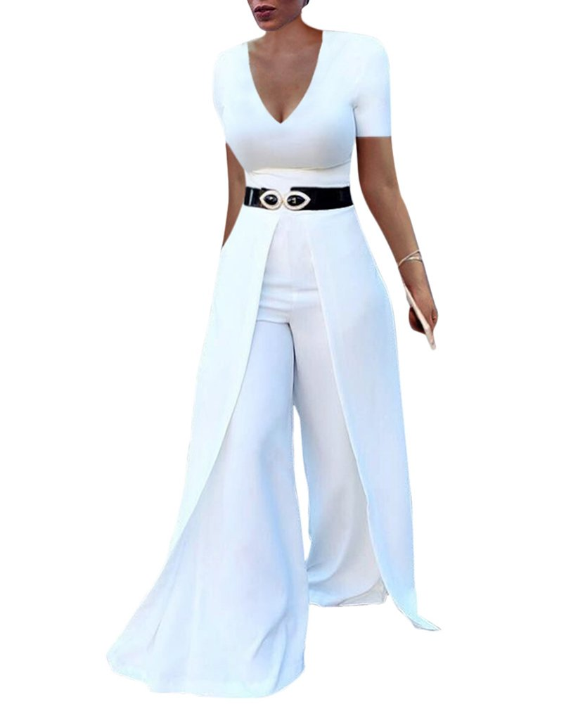 Dreamparis Womens Wide Leg Jumpsuits Romper Long Sleeve High Waisted Flare Palazzo Pants Suit White L