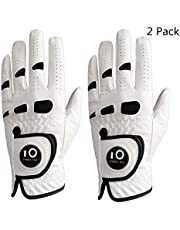 Golf Gloves Men Left Hand Right Leather With Ball Marker Value 2 Pack, Glove Soft Comfortable Weathersof Grip Sport Fit Size S M ML L XL