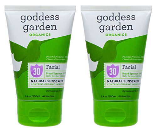 Goddess Garden Facial Natural SPF30 Sunscreen (Pack of 2) with Aloe Vera, Shea Butter, Safflower Seed Oil, Lavender Oil, Immortelle Oil and Vitamin E, 3.4 oz