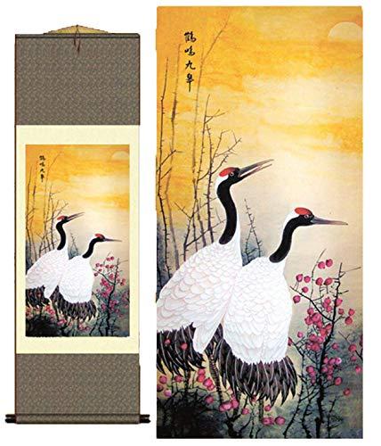 Grace Art Asian Wall Scroll, The Crane Couple