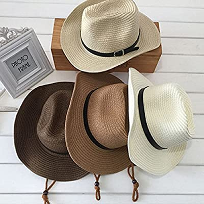 TINKSKY Cowboy Sun Hat Wide Brim Hat Summer Beach Straw Cap Foldable Caps (Beige)