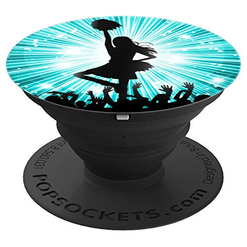 - Cute Cheerleading Cheerleader Gift - Star & Aqua Sunburst - PopSockets Grip and Stand for Phones and Tablets