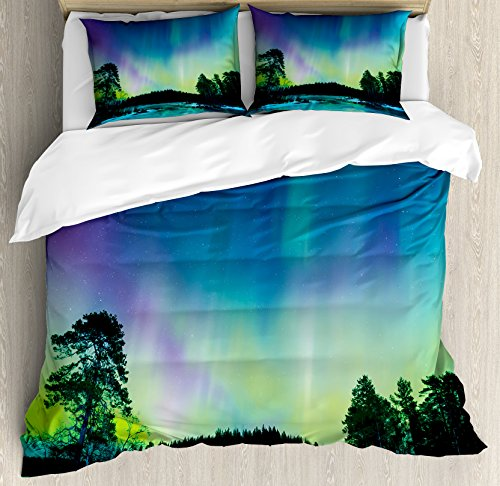 Ambesonne Aurora Borealis Duvet Cover Set King Size, Sky over Lake Surrounded Forest Woods Hemisphere Print, Decorative 3 Piece Bedding Set with 2 Pillow Shams, Violet Blue Lime Green Purple