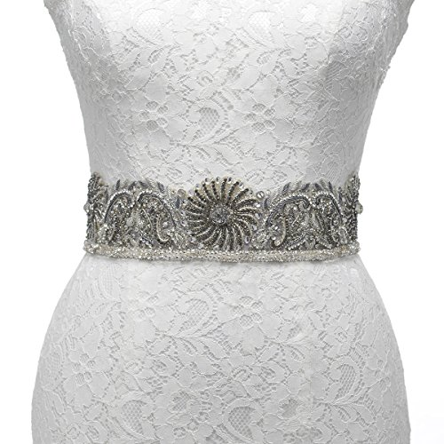 (Remedios India Embroidery Sash Belt for Vintage Wedding Party Dress Gown, Steel Grey)