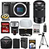 Sony Alpha A6000 Wi-Fi Digital Camera Body (Black) 55-210mm Lens + 64GB Card + Flash + Case + Tripod + Battery & Charger + Kit