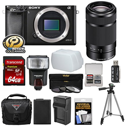 Sony Alpha A6000 Wi-Fi Digital Camera Body (Black) with 55-210mm Lens + 64GB Card + Flash + Case + Tripod + Battery & Charger + Kit Review