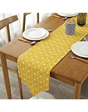 """Bestenrose Table Runner Home Tablecover Decorative 2 sides Cotton Linen Classic Table Bedding Mat Dining Room Party Holiday Decoration (Yellow, 12"""" x 82""""(32 * 210cm))"""