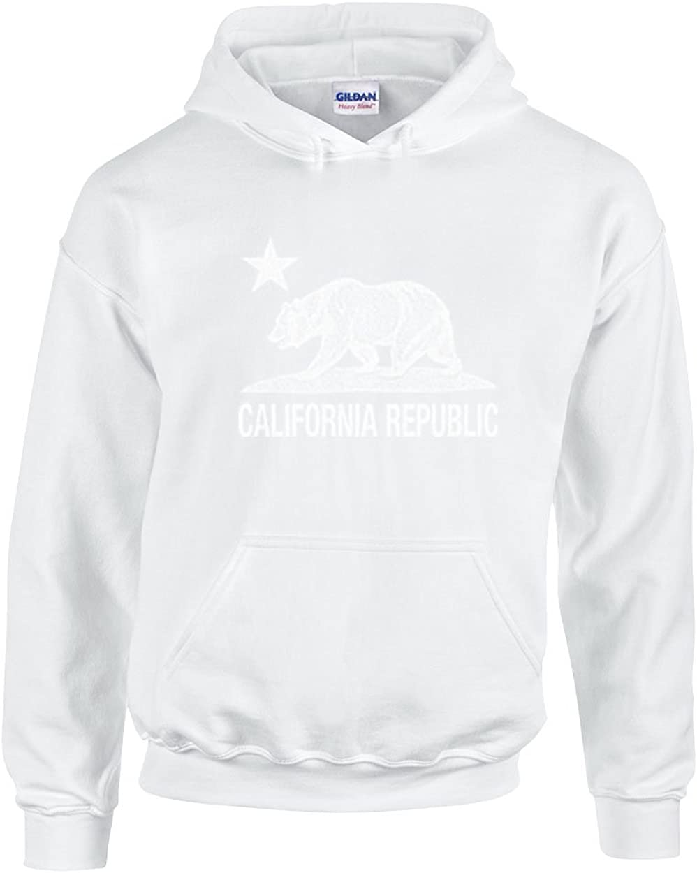 White,X-Large CAMALEN California Republic with Cali Bear and Star Unisex Pullover Hoodie Hooded Sweatshirt