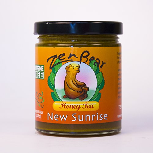 New Sunrise | Herb Infused Raw Honey Tea with turmeric, ginger, orange, lemon, licorice, and coconut milk for a bright start to your day | 8 OZ jar