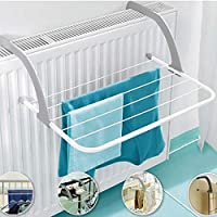SKYFUN (LABEL) Foldable Balcony Roof Mount Clothes Towels Pegs Drying Rack Hanging Stand for Bathroom Windowsill Guardrail Corridor