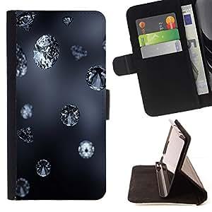 Momo Phone Case / Flip Funda de Cuero Case Cover - Diamond Blue Rain Jewel Bling Gris Naturaleza Oto?o - LG G3
