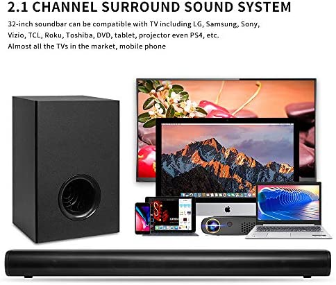 Sound Bar with Wireless Subwoofers, AKIXNO 2.1 CH 32inch Soundbar for Tv with Bluetooth 5.0, 3 Equalizer Mode, Adjustable Treble Bass, Sound Bars Wall Mountable Home Theater – 20Wx2 30W, Black, SR250G