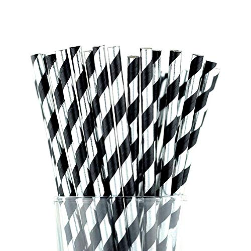 Black and Foil Silver Stripes High Class Paper Straws for Parties, Weddings, Baby Showers & More: Disposable & Eco- Friendly, 100% Biodegradable -Pack of 50, Unique & Elegant Designs (Set of 50)