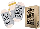 "The Only Luxury Cotton Socks + Gift Box ""If you can read this bring me a cold Beer"" Perfect Christmas Gift for Beer Lovers, Birthdays, White Elephant, Father Gift, husband or Best Friend Beer Socks"