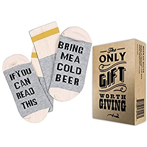 "BEER SOCKS + GIFT BOX ""If you can read this bring me a cold Beer"" Best fathers day gifts from daughter, gift for dad, men birthday gifts ideas, fathers day gifts from son and beer gifts"