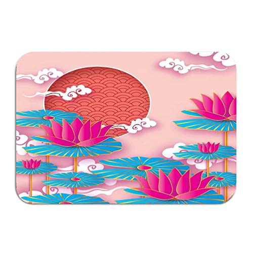 zengjiansm Outside Shoe Non-Slip Color Dot Doormat Origami Waterlily Lotus Flower Happy Chinese New Year Dog Text cicle Frame Graceful Floral Paper Mats Entrance Rugs Carpet 16 24 inch