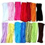 """Janecrafts (Set of 12pcs) 7"""" Extra Wide Fashion Ruffle Flexsible Cotton Yoga Sports Headband for Teens Women Girls Hair Band Mix in 12 Colors"""