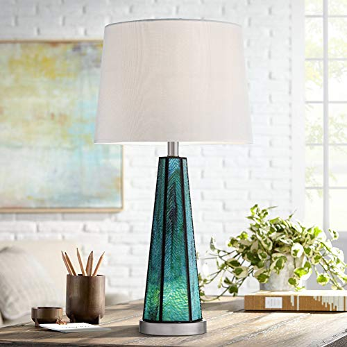 Delia Blue Art Glass Table Lamp with Night Light - 360 Lighting
