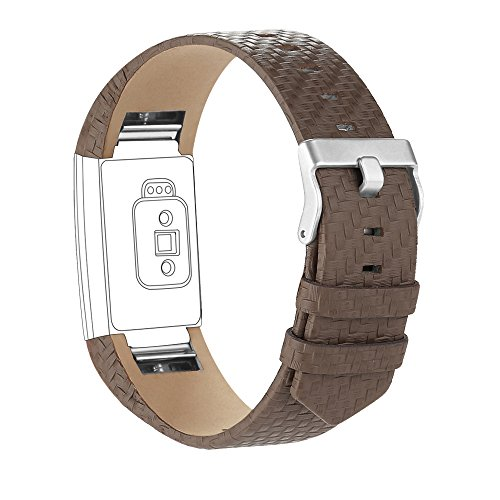 iGK Leather Replacement Bands Compatible for Fitbit Charge 2, Genuine Leather Wristbands Weave Taupe