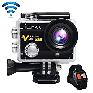 JEEMAK 4K Action Cam 16MP WiFi Waterproof Sports Camera 170° Ultra Wide Angle Len with SONY Sensor,Remote Control 2 Pcs Rechargeable Batteries and Portable Package