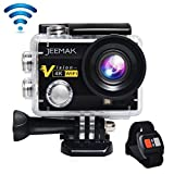 JEEMAK 4K Action Cam 16MP WiFi Waterproof Sports Camera 170° Ultra Wide Angle Len with SONY Sensor,Remote Control 2 Pcs Rechargeable Batteries and Portable Package Black