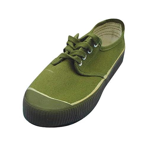 Amazon.com: Randolly Pareja Plano Ejército Verde Zapatos de ...