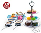 Liberty Imports Deluxe Afternoon Tin Tea Set with Cake Stand and Dessert Play Food - Metalware Playset for Four (39 Pieces)